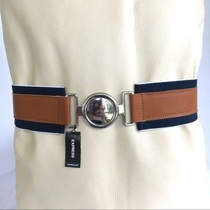 Express Stretchy Belt Navy Blue Brown Silver NEW